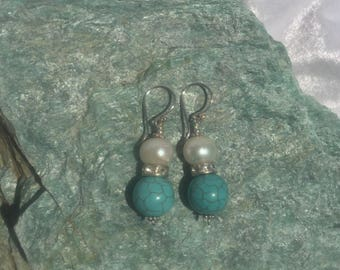 Fresh Water White Pearl & Turquoise Earrings