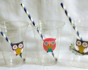Owl Party Cups with Lids and Straws, Plastic Owl Woodland Party Drink Cups Party Cups