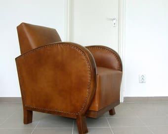 Art Deco Leather Armchair. Club Chair. Vintage Art Deco 1920s.