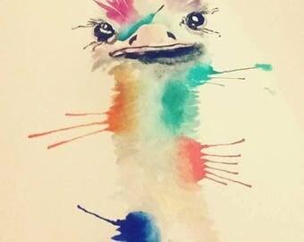 Custom Watercolours - Ostrich