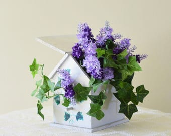 Adorable  Vintage Wood Birdhouse with Purple Flowers and Ivy