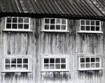 Barn Photography Close Up Old Barn Photography Windows Photography Black & White Photography Barn Picture Country Decor