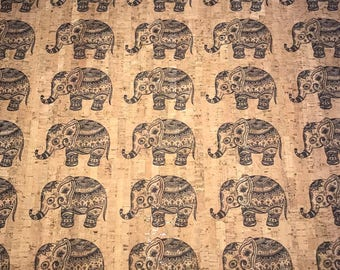 Cork Fabric -Elephant Print Cork - EcoFriendly - Made in Portugal