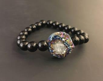 Iridescent Druzy Bead & Obsidian Bracelet