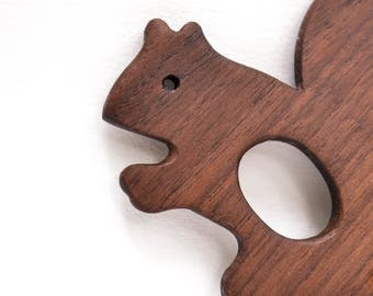 Organic Baby Teething Toy Squirrel. Walnut Wooden Baby Teether. Teething Pendant. Baby Shower Gift. Personalized Baby Gifts.