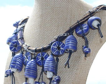 Boho Style / Blue-silver shells with beads