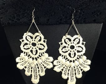 Lace earrings unique off white