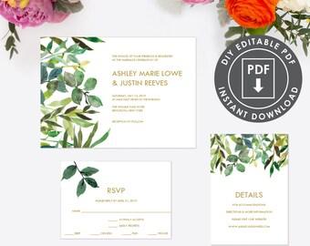 Instant Download Wedding Invitation | Digital Wedding Set | Printable Template Wedding Invitation | Floral Wedding Template | Editable | 004