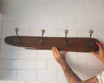 Unique driftwood coat hook rack