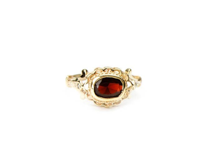 45% SALE! Garnet and Diamond Ring