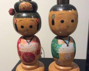 Vintage Japanese Kokeshi Wooden Doll Lamp