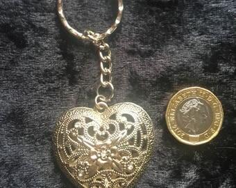 3D silver heart key ring