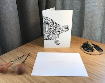 Handprinted Linocut Desert Tortoise Greeting Card