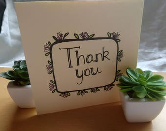 Hand painted thank you card with flower border