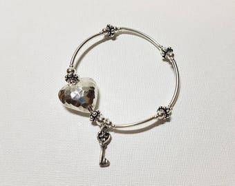 925 Sterling Silver Heart & Key Charm bracelet, Stretch Bracelet, Layered Bracelet
