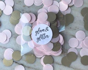 BLUSH & CHAMPAGNE GOLD Shimmer Confetti Dots/ Bridal / Birthday / Baby / Shower