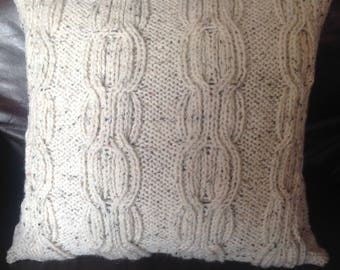 Hand knitted ivory fleck ribbed hourglass Aran cushion cover