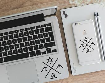 Laptop Sticker, Macbook Decal, Vinyl Sticker, Four Elements Decal, Camping Decal, Gift Sticker, LD003