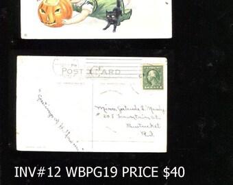 Vintage Halloween Postcard posted Reduced 15 Dollars Inv# 12 bbkpg3