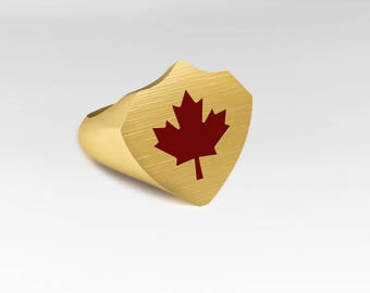 Canada-ring in yellow gold with a red maple leaf, Meaple leaf, anniversary ring, yellow gold ring, Signet Ring