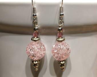 Pink Swarovski Glass Earrings