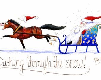 Humorous Horse Christmas Greeting Card - Dashing through the snow!
