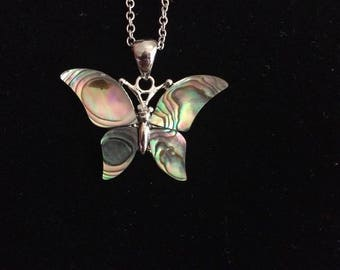 Paua mother of Pearl Butterfly Necklace