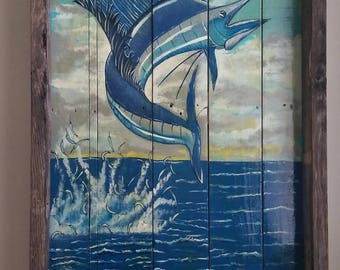 Hand painted Marlin on Pallet Art