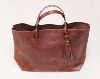 Theresa large brown leather tote
