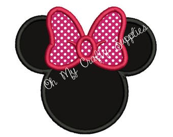Girl Mouse Head Applique Design