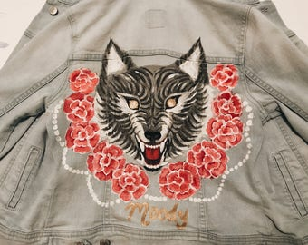 COMMISSION Hand-Painted Customized Denim Jacket