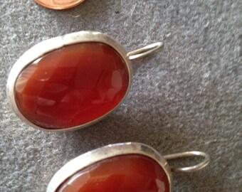 Sterling silver carnelian cab earrings