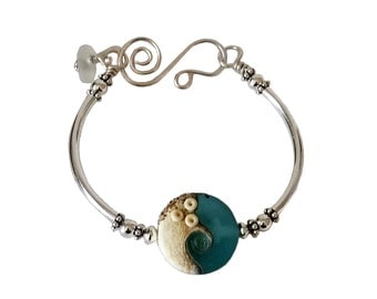 Ocean Wave Jewelry, Summer Jewelry Trend, Best Friend Bracelet, Summer Bracelet, Sterling Silver Bangle, Beach Bracelets, Gift for Women