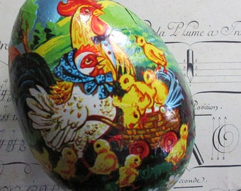 Paper Mache Egg Uncommon Vintage Western German Foil Wrapped Easter Chicks Easter Egg Box 7 Inch Germany