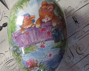 Paper Mache Egg Germany Bunnies Easter Fuzzy Bears Design Easter Egg Box German Egg