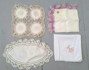 Lot of four antique and vintage lace Irish linen napkin,  handmade lace dresser scarfs and curiosities. Linen lot. Vintage textile lot.