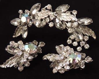 Vintage Smoky Gray Floral Rhinestone Earrings Set, Floral Rhinestone Brooch and Earrings Set, Gray Earrings Set, Bridal Jewelry