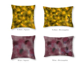 Art on Throw Pillow - original design - Yellow and Black or Burgundy (Wine) - Cotton or Polyester