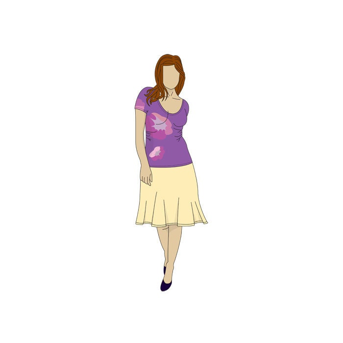 Scoop Neck Easy T-shirt Sewing Pattern- Sizes 8-22 UK - Download PDF