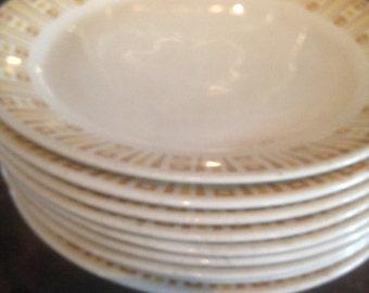 11 Syracuse Syralite Luncheon Plate Set Eleven Mid Century Vintage Heavy Restaurant China 1970s USA