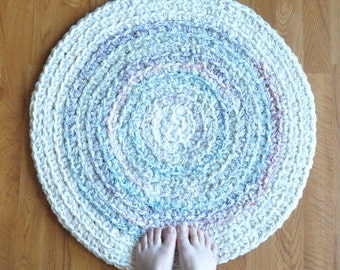 White Rug with Pastel Streaks Nursery Rug Baby Shower Gift