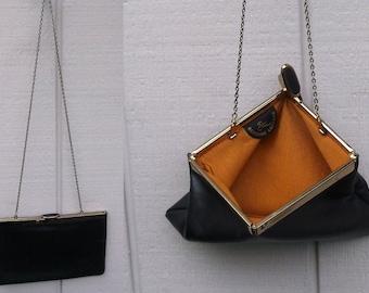 60s Vintage Black Leather Etra Clutch - convertible with Chain Strop / Origami Mod Mid Century Handbag Purse