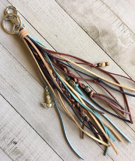 Boho Keychain, Long Tassel Keychain, Bag Charm, Tassel Purse Charm, Tassel Handbag Charm, Bag Tassel, Gift for Her, Tassel Keyring (OOAK1)