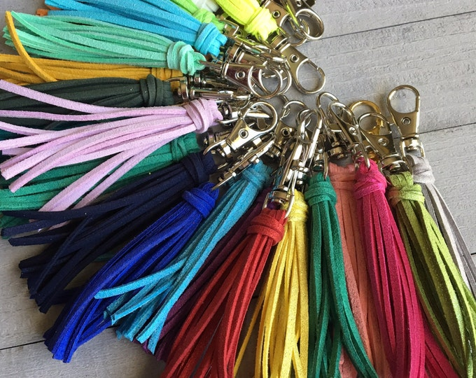 "Featured listing image: Tassel Keychain, Leather Zipper Pull, Bag Tassel, Handbag Tassel, Purse Zipper Pull, Tassel Purse Charm - 3.5"" Small Tassel Vegan Leather"
