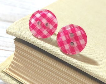 Bright Pink Plaid Earrings, Pink Post Earrings, Button Stud Earrings, Surgical Steel, Bright Pink Gingham Sewing Button Post Earrings (LB1)
