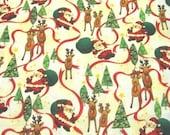 ON SALE Santa and Reindeer Christmas Fabric