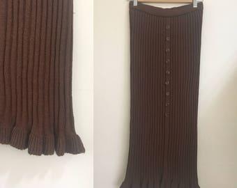 Fishtail Knitting Maxi Long Skirt Brown