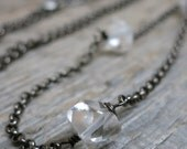 30% OFF WINTER SALE Icebound necklace ... darkened silver / herkimer diamond