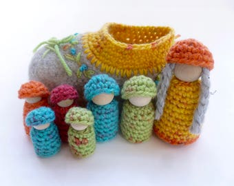 There was an old women felted wool shoe peg dolls Waldorf inspired
