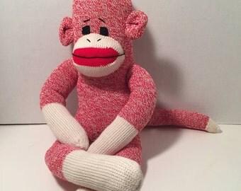 Red heel sock monkey | Etsy